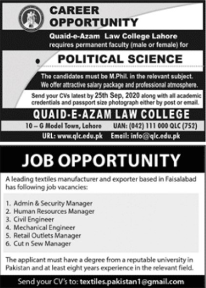 Career Opportunities - Quaid-e-Azam Law College Lahore