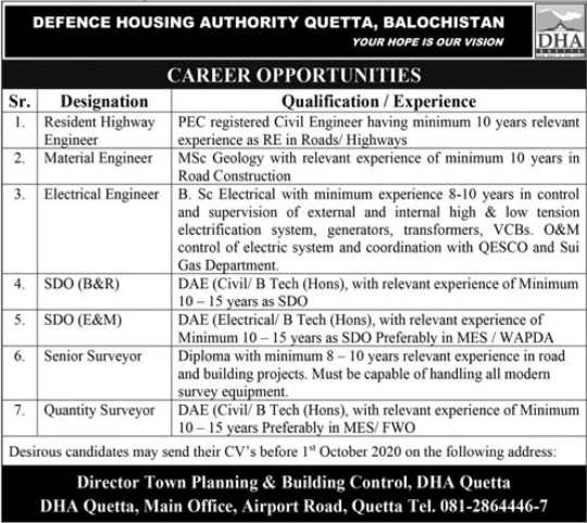 Career Opportunities in Defence Housing Authority Quetta