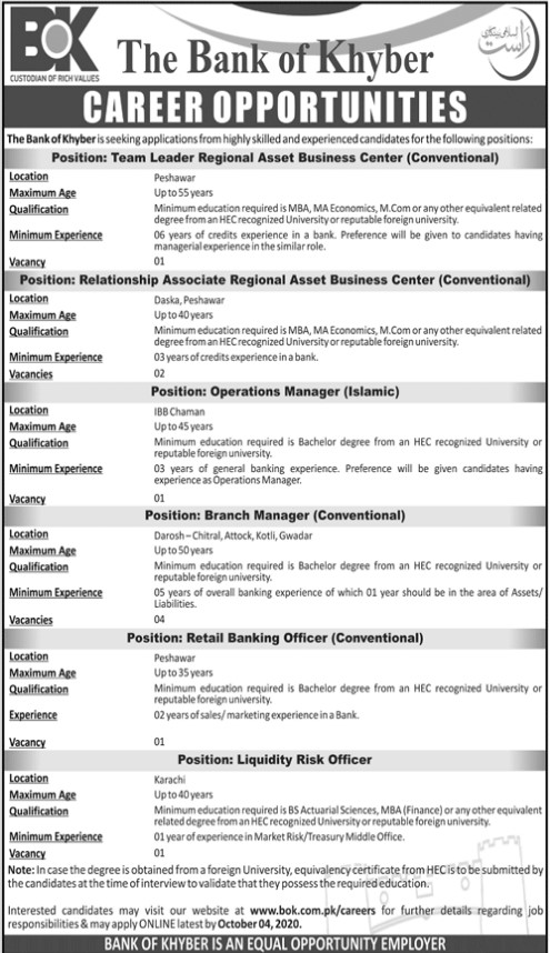 Career Opportunities in The Bank of Khyber