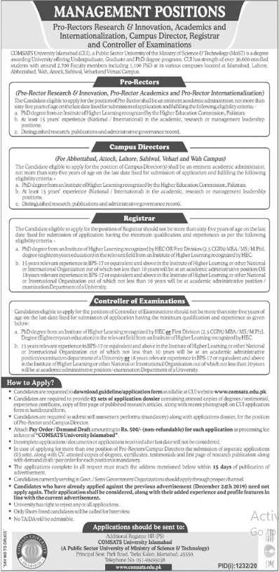 Comsats University Islamabad Jobs
