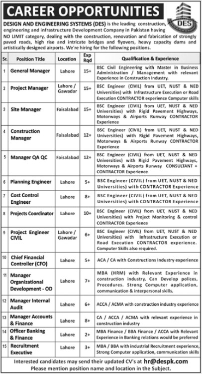 Career Opportunities - Design and Engineering Systems (DES)