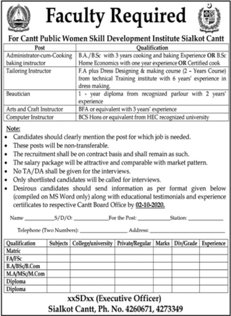 Faculty Required in Women Skill Development Sialkot Cantt