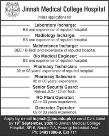 Hospital Jobs in Jinnah Medical College Karachi