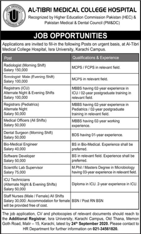 Job Opportunities in Al-Tibri Medical College Hospital