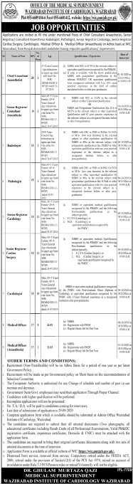 Job Opportunities in Wazirabad Institute of Cordiology 2020