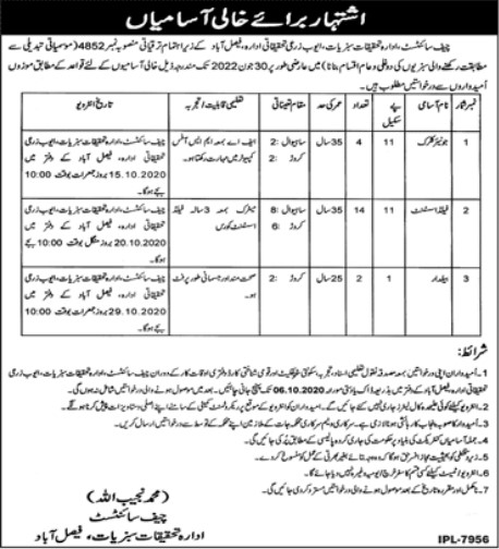 Jobs Opportunities in Ayub Reaserch for Vegetable Department