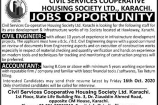 Jobs Opportunities in Civil Services Cooperative Housing Society Karachi