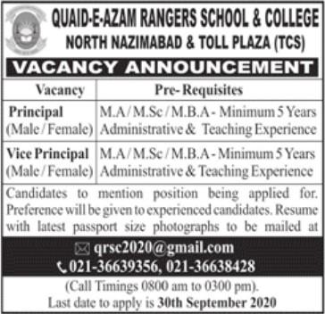 Jobs Vacancies at Quaid-e-Azam Rangers School & College Karachi