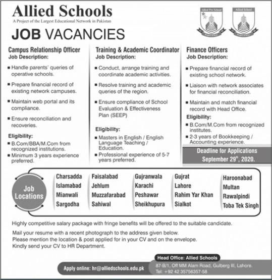 Jobs Vacancies in Allied School Lahore