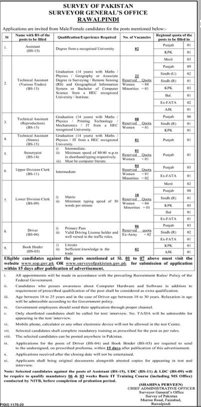Jobs at Survey of Pakistan Surveyor General's Office Rawalpindi