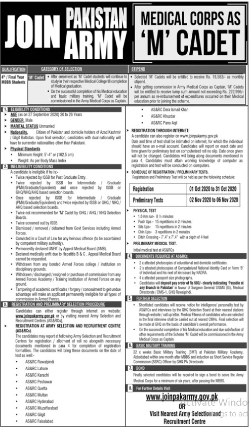 Join Pakistan Army - Medical Corps as M Cadet