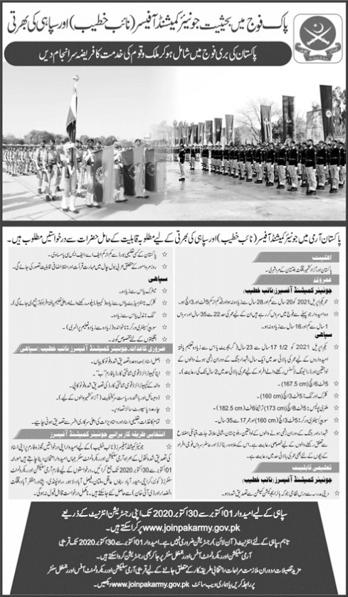 Pak Army Jobs Junior Commissioned Officer and Sipahi