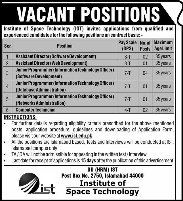 Position Vacant in Institute of Space Technology (IST)