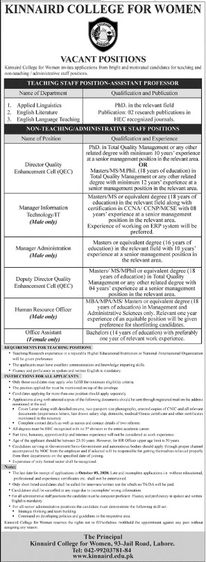 Positions Vacant in Kinnaird College for Women