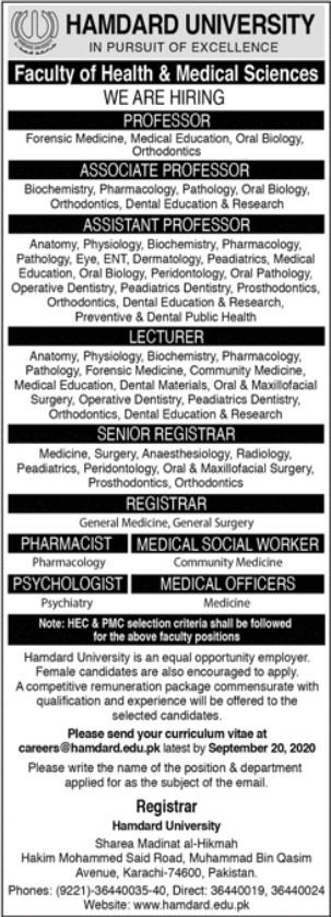 Professor, Lecturer, Medical Jobs in Hamdard Univesity Karachi