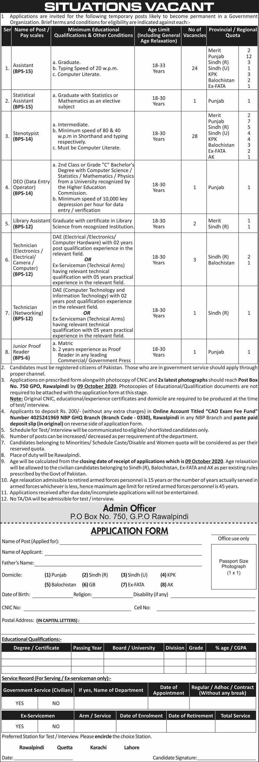 Situation Vacant in General Head Quarter (GHQ) Rawalpindi