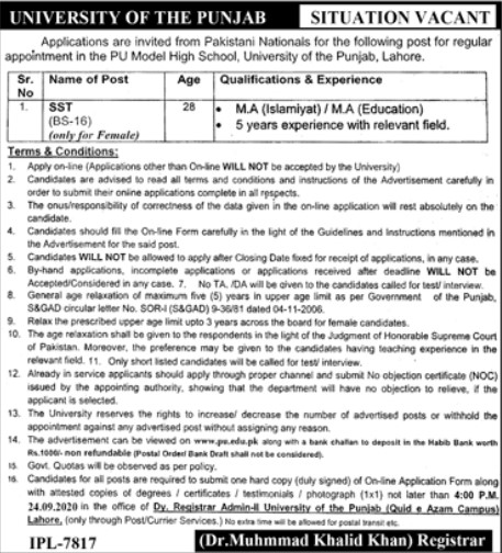 Situation Vacant in University of The Punjab