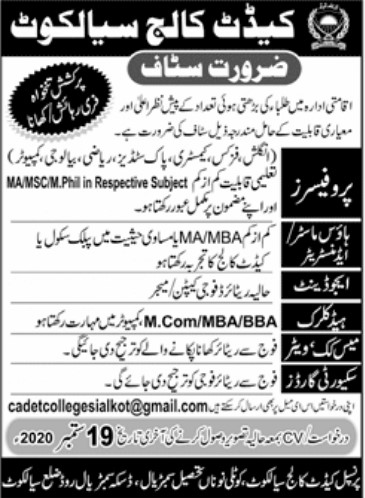 Staff Required - Cadet College Sialkot