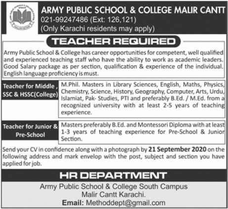 Teachers Required in Army Public School and College Malir Cantt