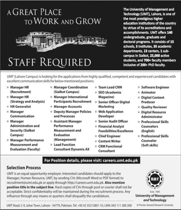 UMT - University of Management and Technology Jobs