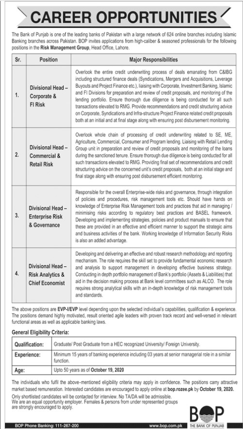 Career Opportunities in Bank of The Punjab
