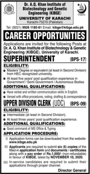 Career Opportunities in Dr. A.Q Khan Institute Karachi