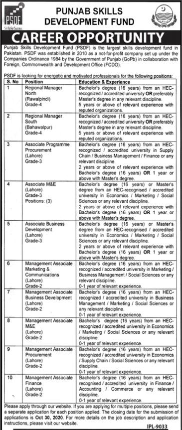 Career Opportunities in Punjab Skills Development Fund