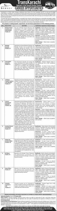 Career Opportunities in TransKarachi Breez System Karachi