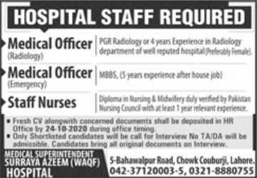 Hospital Staff Required in Surraya Azeem Hospital Lahore