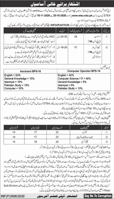 Jobs Announcement in Deputy Commissioner Office Banu
