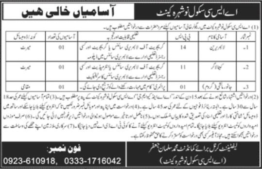 Jobs Opportunities in ASC School Nowshera Cant