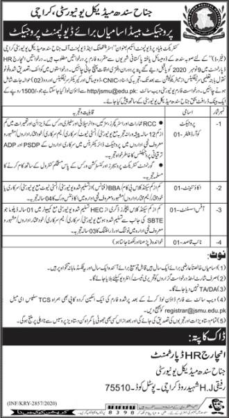 Jobs Opportunities in Jinnah Medical University Karachi