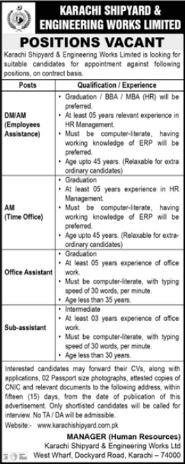 Position Vacant in Karachi Shipyard and Engineering Works Limited
