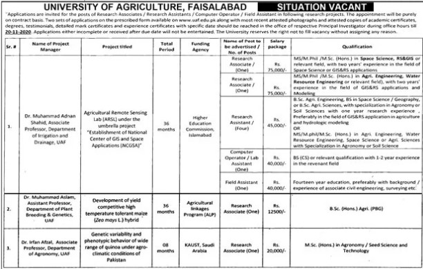 Situation Vacant in University of Agriculture Faisalabad