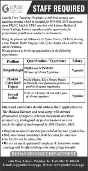 Staff Required in Gharki Trust Teaching Hospital Lahore