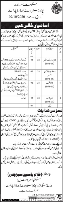 Staff Required in Government of Sindh Universities and Boards Department
