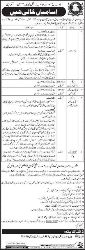 Staff Required in Jinnah Sindh Medical University Karachi