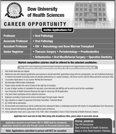 Applications for Dow University of Health Scinces Karachi