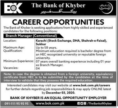 Bank Jobs in The Bank of Khyber Karachi