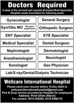 Doctors Required in Wellcare International Hospital Attock