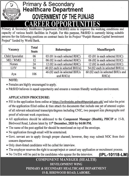 Doctors and Nurses Required in Punjab Healthcare Department