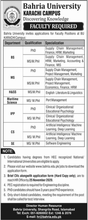 Faculty Required in Bahria University Karachi Campus