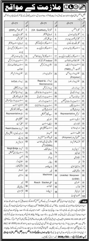 Job Opportunities in National Logistic Cell NLC Karachi