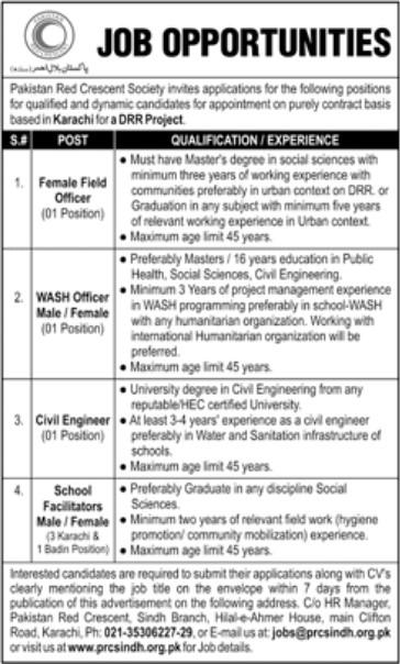 Job Opportunities in Pakistan Red Crescent Society Karachi