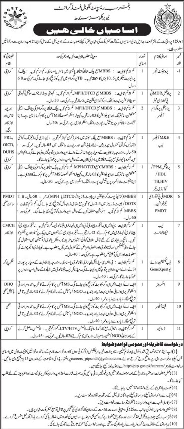 Jobs Applications in Global Fund Grant Tuberculosis Sindh