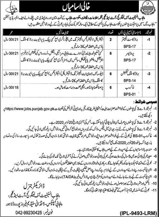 Jobs Available in Punjab Institute of Language Art and Culture