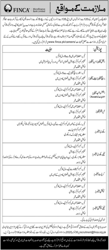 Jobs Opportunities in FINCA Microfinance Bank Limited