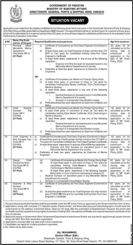 Jobs Opportunities in Ports and Shipping Karachi 2020