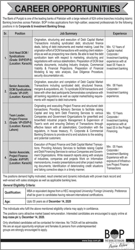Jobs Opportunities in The Bank of Punjab