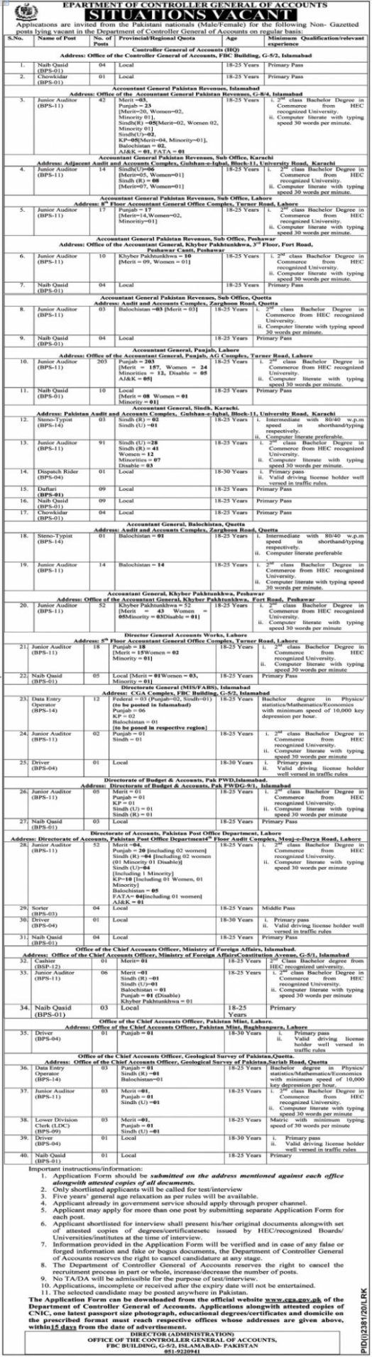 Jobs in Department of Controller General Of Accounts Islamabad